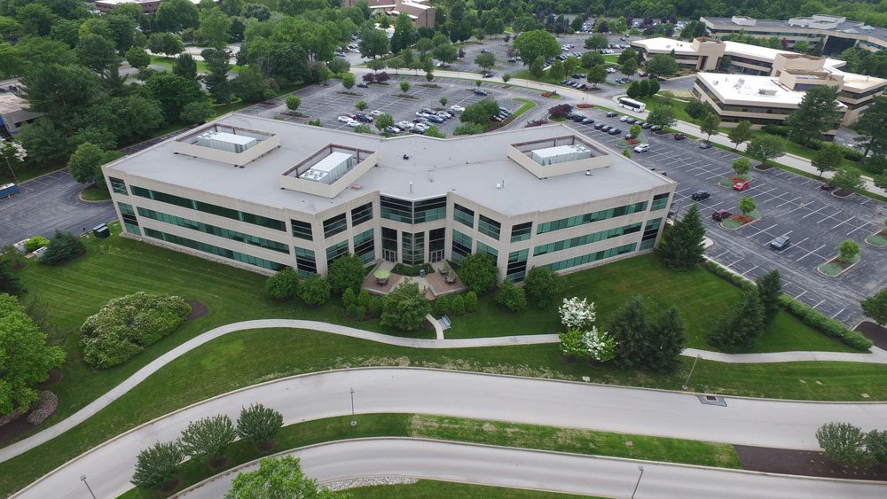 Chesterbrook Corporate Center Aerial building and parking lot areas