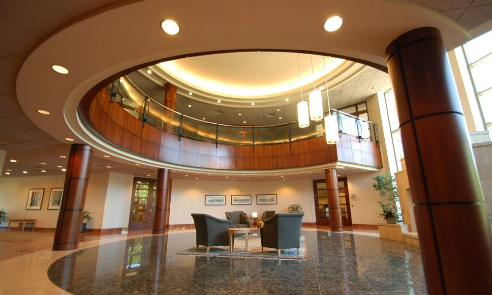Chesterbrook Corporate Center side view of two story lobby with seating area