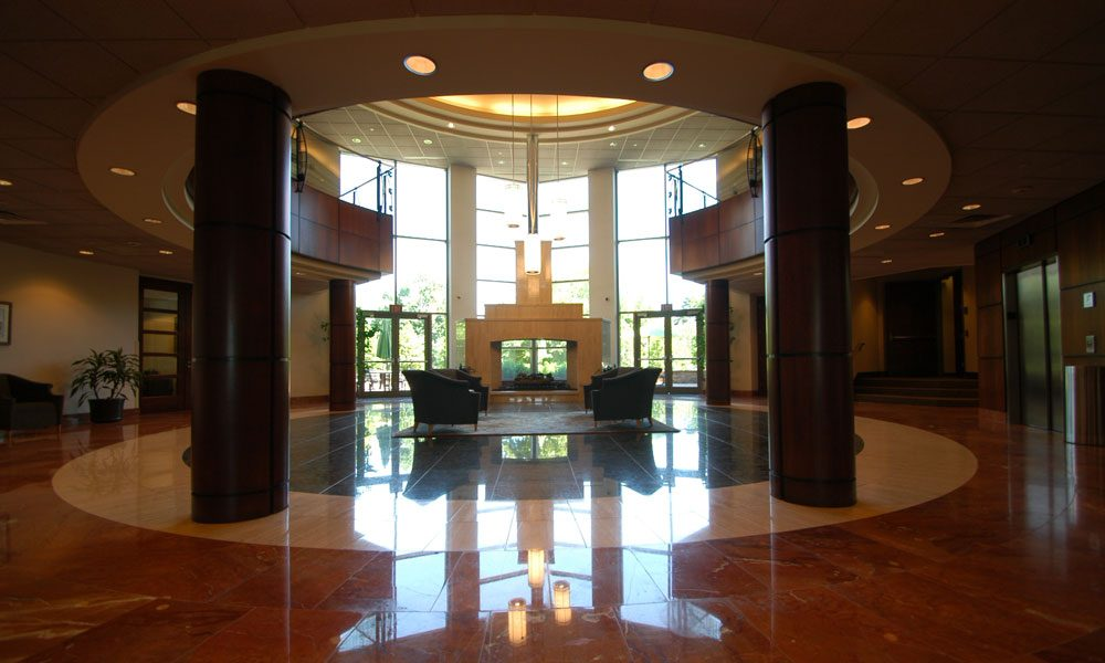 View of Chesterbrook Corporate Center looking from inside the lobby out the main entrance