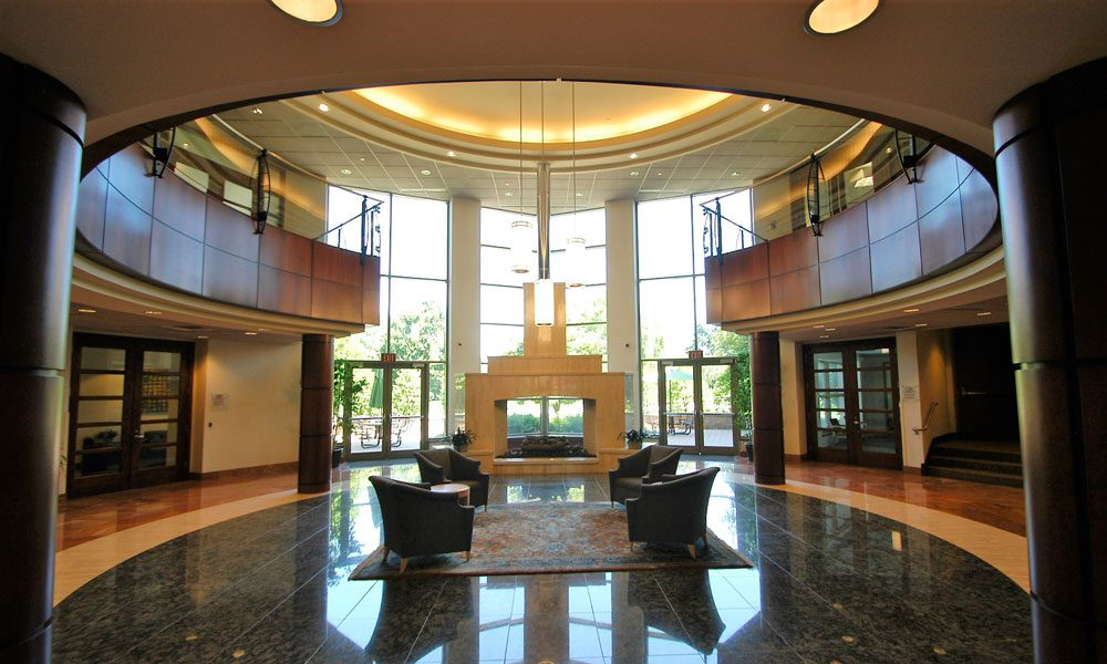 Chesterbrook Corporate Center lobby and atrium view with fireplace