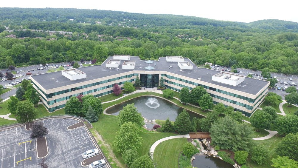 Chesterbrook Corporate Center alternative aerial view with fountain