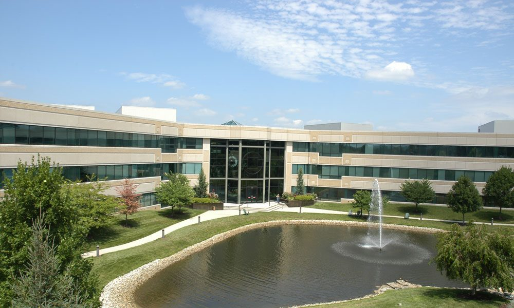 Chesterbrook Corporate Center exterior view with fountain