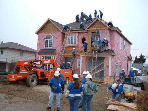 Penntex crew participating in a charity build with Extreme Home Makeover