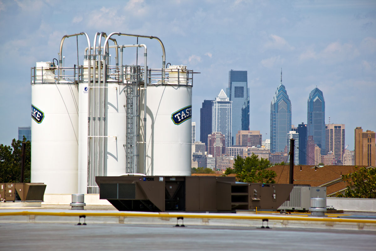 Tastykake Silos with Philadelphia cityscape in the background