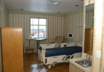 Interior of a patient room at a healthcare facility