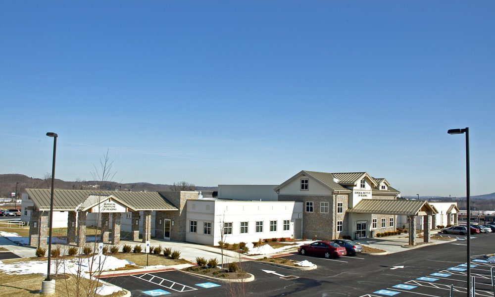 Aerial of Reading Surgical Center exterior with full building view