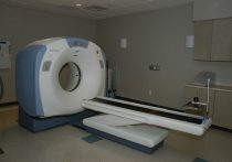 Closeup of MRI machine in a healthcare facility