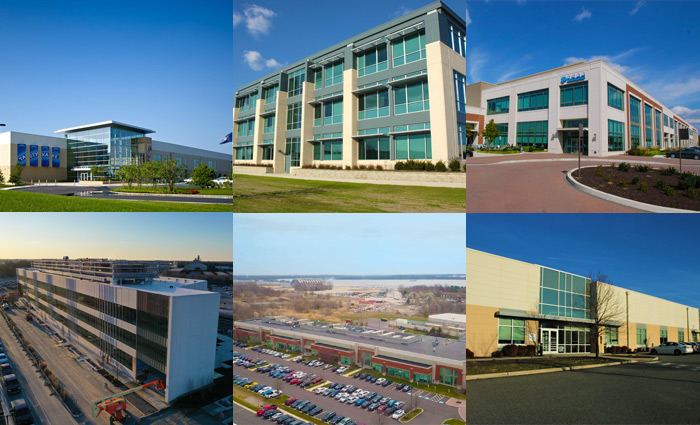 A collage of building exteriors from Penntex's work inside the Philadelphia Navy Yard